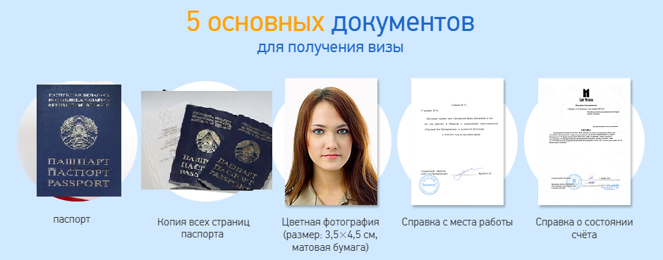 перечень документов для получения визы
