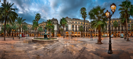 Placa Reial in the Morning, Barcelona, Catalonia, Spain